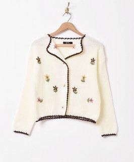 古着「Meridian」フラワー刺繍 カーディガン 古着のネット通販 古着屋グレープフルーツムーン
