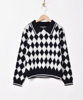 古着【2色展開】「Meridian」ダイヤ柄 カラーセーター ブラック 古着のネット通販 古着屋グレープフルーツムーン