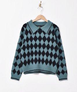 古着【2色展開】「Meridian」ダイヤ柄 カラーセーター グリーン 古着のネット通販 古着屋グレープフルーツムーン