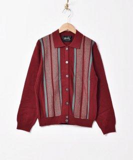 古着【3色展開】「Meridian」ストライプデザイン カラーセーター ワインレッド 古着のネット通販 古着屋グレープフルーツムーン