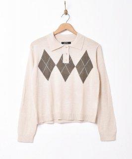 古着【2色展開】「Meridian」アーガイル柄 セーター アイボリー 古着のネット通販 古着屋グレープフルーツムーン