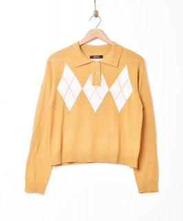 古着【2色展開】「Meridian」アーガイル柄 セーター マスタード 古着のネット通販 古着屋グレープフルーツムーン