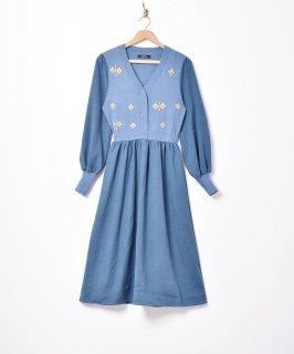 古着【2色展開】「Meridian」ニットフラワー バルーンスリーブワンピース ブルー 古着のネット通販 古着屋グレープフルーツムーン