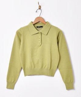 古着【3色展開】「Meridian」ロングスリーブ ニットポロシャツ グリーン 古着のネット通販 古着屋グレープフルーツムーン