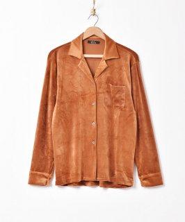 古着【3色展開】「Meridian」オープンカラー ベロアシャツ グリーン 古着のネット通販 古着屋グレープフルーツムーン