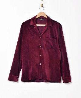 古着【3色展開】「Meridian」オープンカラー ベロアシャツ ワインレッド 古着のネット通販 古着屋グレープフルーツムーン