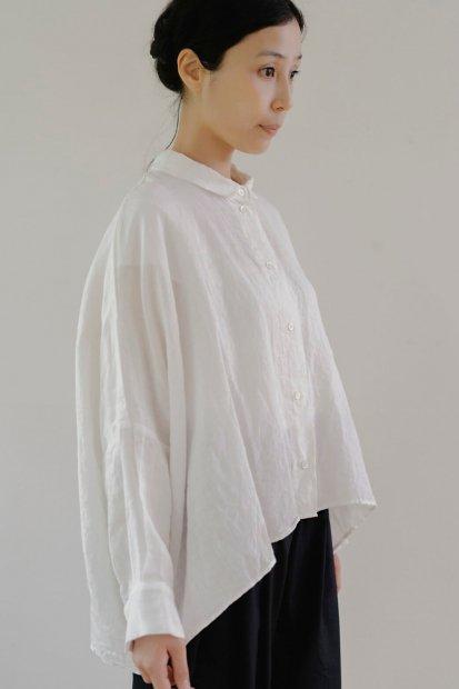 ラウンドカラー<br>ビッグリネンシャツ<br><linen white・S>