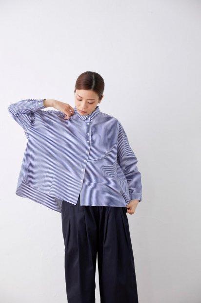 スーピマコットン<br>ビッグシャツ<br><コンストライプ太>