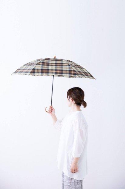雨用折りたたみ傘<br><ベージュチェック>