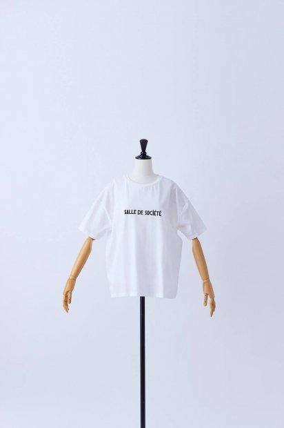 半袖<br>プリントTシャツ<br>【Salle de Société】<br><シロ>