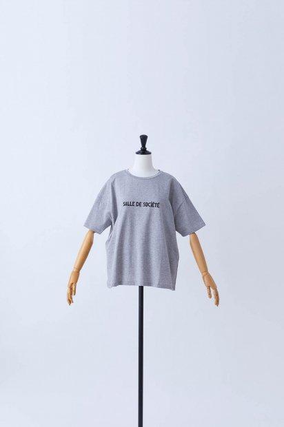 半袖<br>プリントTシャツ<br>【Salle de Société】<br><グレー>