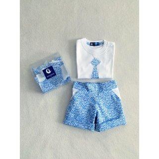 リバティ生地グレンジェイド水色 ボーイTシャツ&半ズボンセット(140&150cmパターン/キット/完成品オーダー)