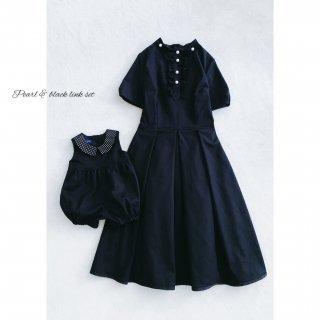 ブラック×襟周りパール ママワンピース(パターン&レシピ/ソーイングキット/単品販売)