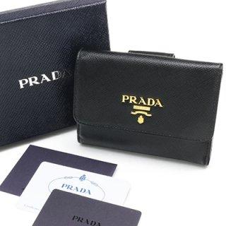 PRADA プラダ 1MH523 QWA F0002 SAFFIANO METAL NERO ブラック 二つ折り財布