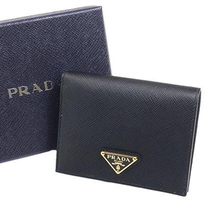 PRADA プラダ 1MV204 QHH F0002 NERO SAFFIANO TRIANG スナップ開閉式財布 コンパクト