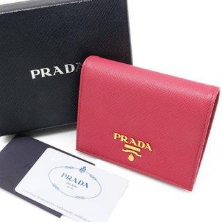 PRADA プラダ 1MV204 QWA F0505 PEONIA SAFFIANO METAL スナップ開閉式財布 コンパクト