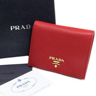 PRADA プラダ 1MV204 QWA F068Z FUOCO SAFFIANO METAL スナップ開閉式財布 コンパクト