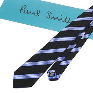 Paul Smith ポールスミス M1A 552M AY47 79 ネクタイ ブラックマルチ ブルーストライプ シルク100% 専用紙BOX付き