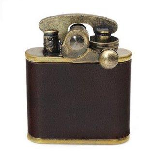 COLIBRI コリブリ ワンハンドライター 308-0033 ブラスバレル革巻き フリント式 オイルライター