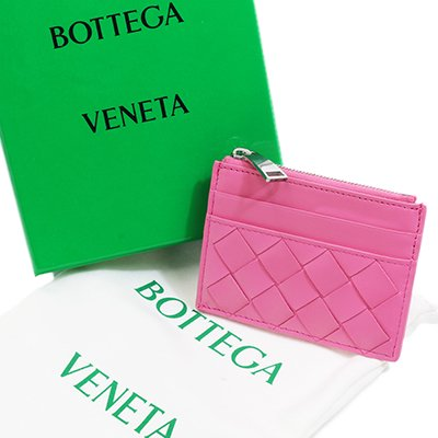 BOTTEGA VENETA ボッテガヴェネタ 608084 VCPP3 5632 INTRECCIATO イントレチャート ピンク カードケース コインケース スリム