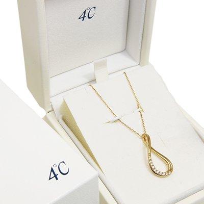 4℃ K18ゴールド ネックレス 50cm / 3.5g 引き輪留め具 アズキチェーン スライダーあり 中古商品 ランクA