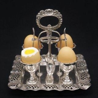 ヴィクトリア時代|真珠貝のエッグスタンド(エッグクリュエット)4人用