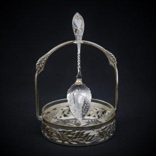 揺れるスプーンが優雅なジャムスタンド ガラスのライナー付き