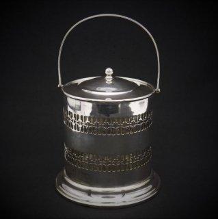 透かし細工のビスケットバレル/ガラスのライナー付き