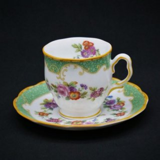 ロイヤルアルバート|上品で華やかなグリーンのコーヒーカップ&ソーサー