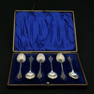 ヴィクトリア時代|純銀のシェル型スプーンセット(箱入り)