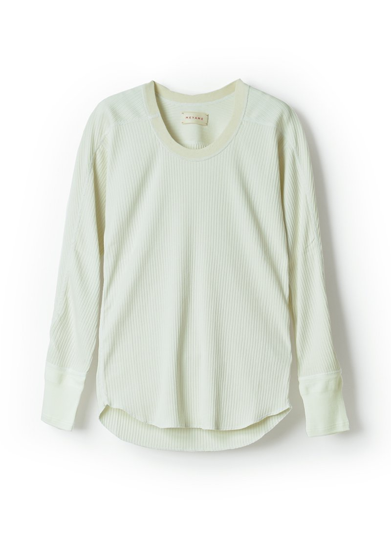 MEYAME Oblong Neck Rib Pullover