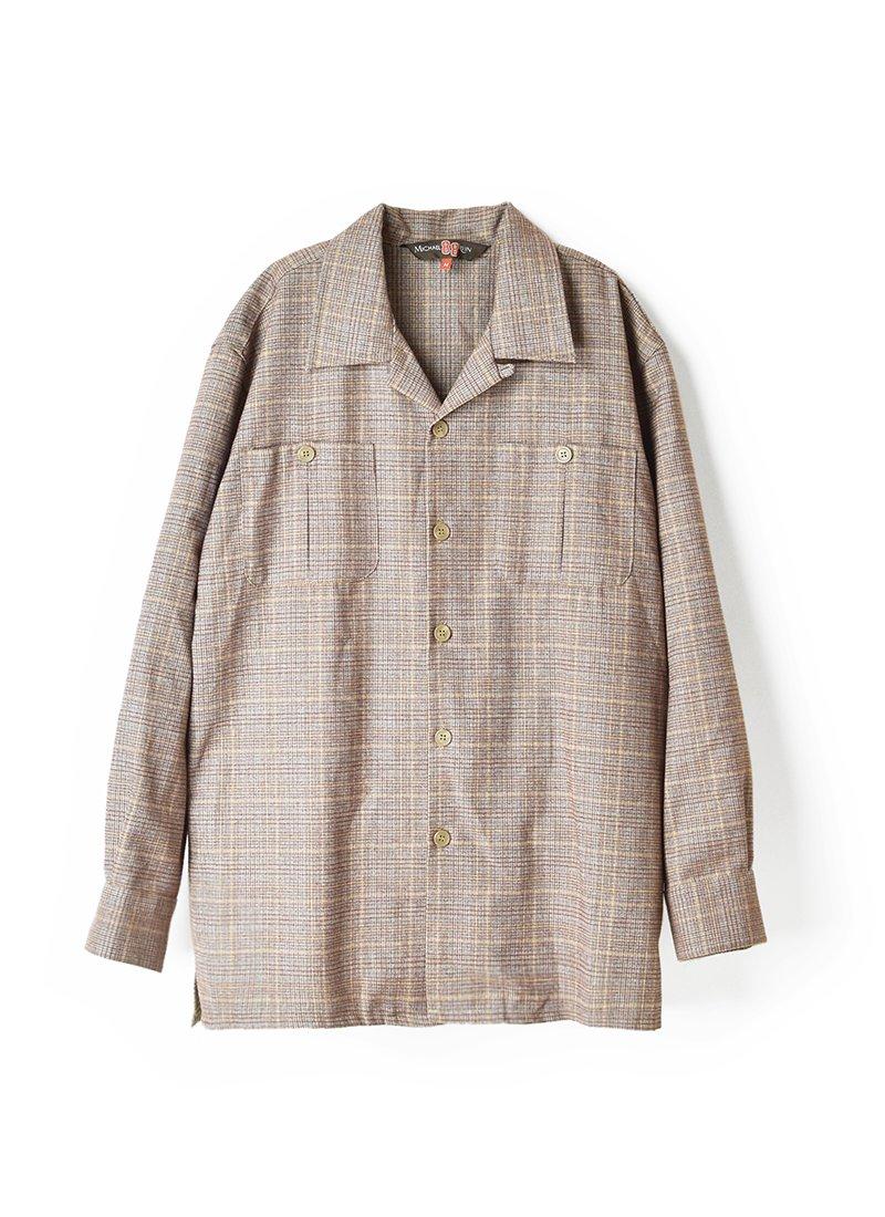 USED Glen Check Open Collar Shirt