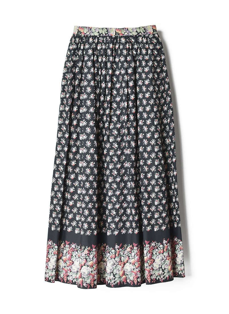 USED Floral Print Long Skirt