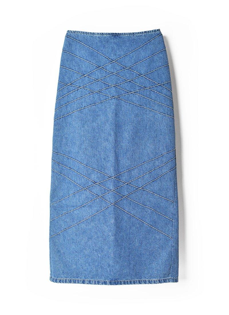USED Back Slit Design Denim Skirt