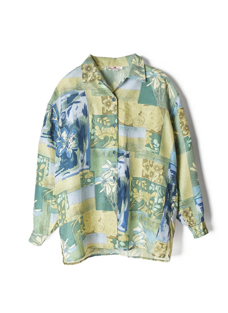 USED Printed Design Silk Shirt