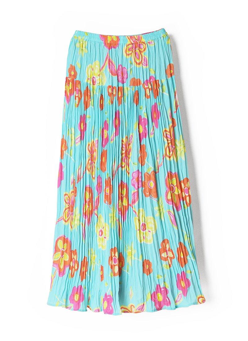 USED Pleated Floral Print Skirt