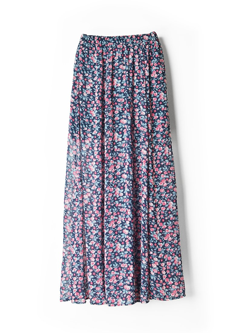 USED Floral Print Long Skirt No.7