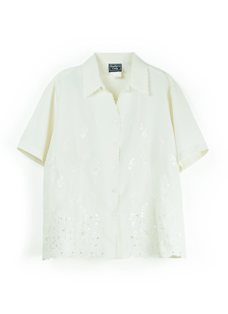 USED Floral Embroidery Blouse No.2