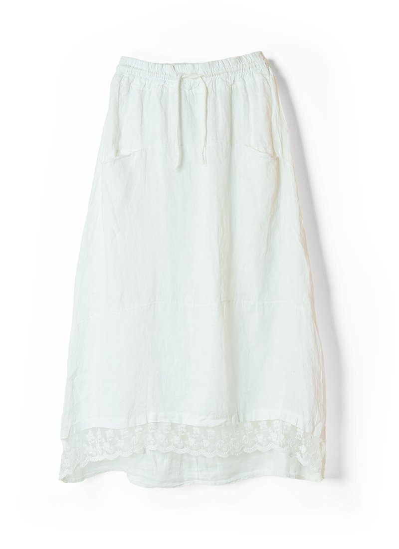 USED Made in Italy Linen Lace Skirt