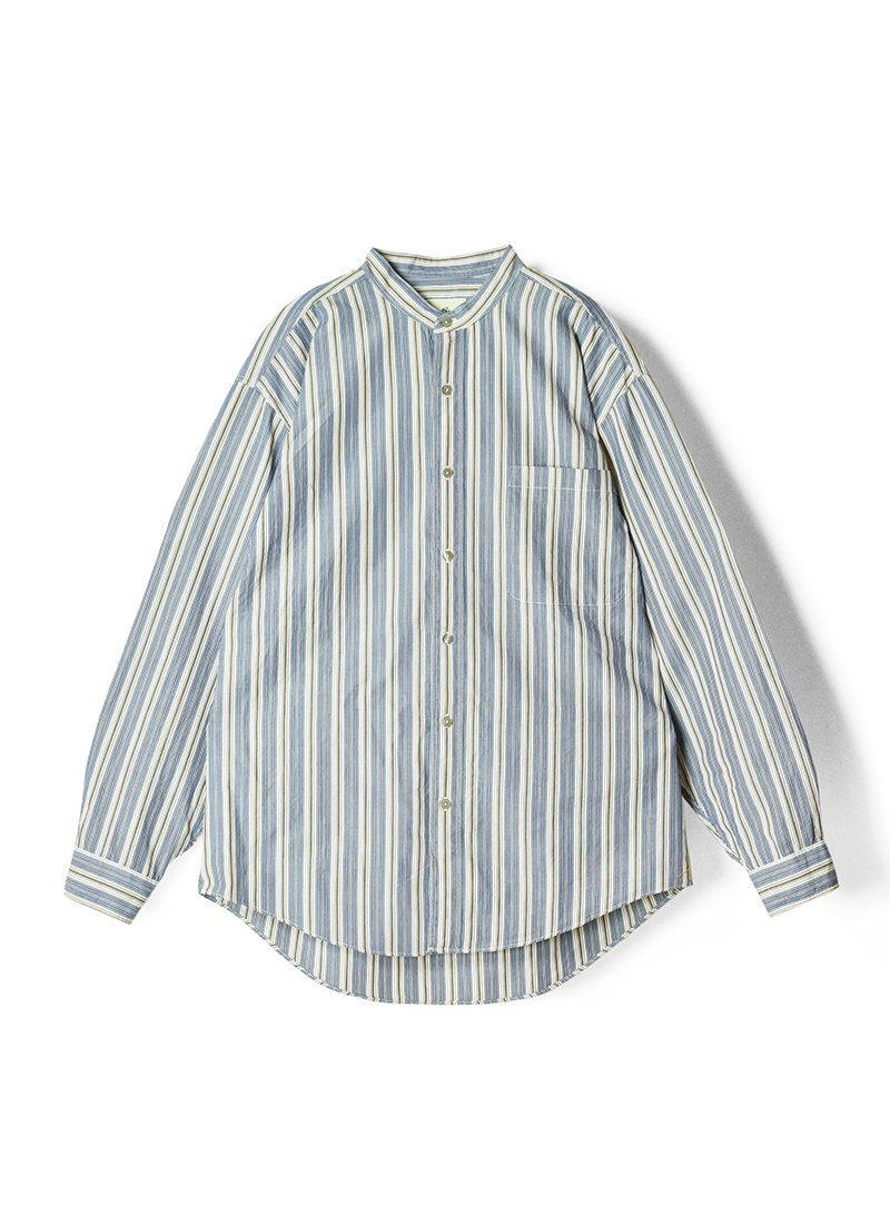 USED Stand Collar Striped Shirt No.3