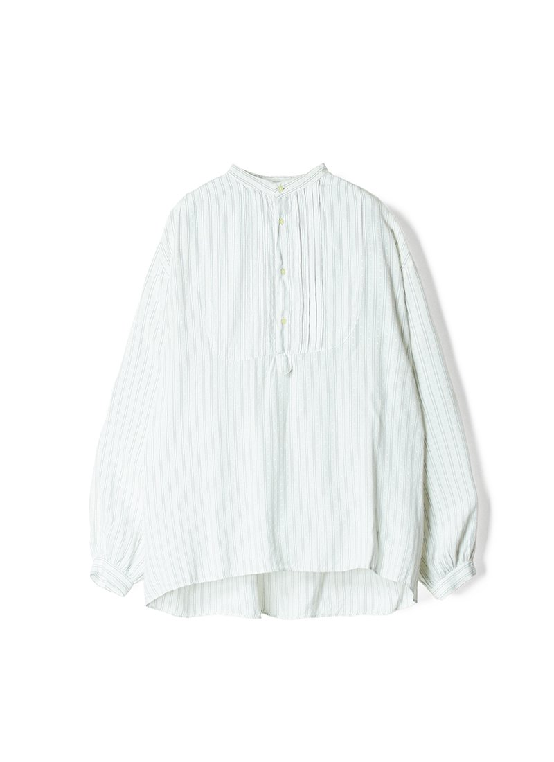 USED Stand Collar Striped Blouse