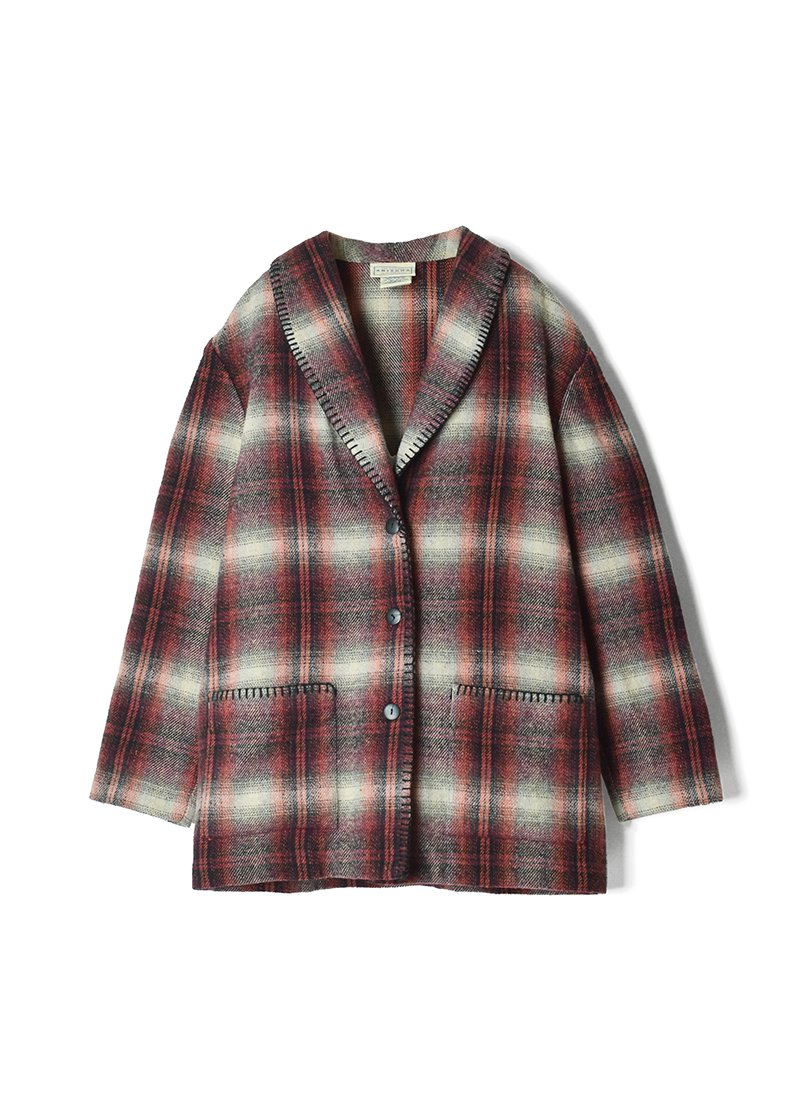 USED Shawl Color Check Jacket