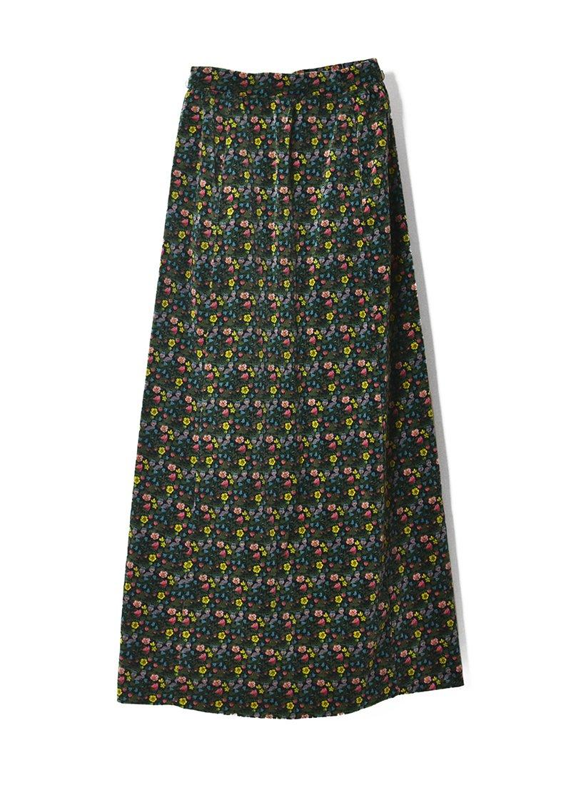 USED Floral Print Velor Long Skirt