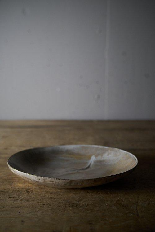 銀彩楕円鉢