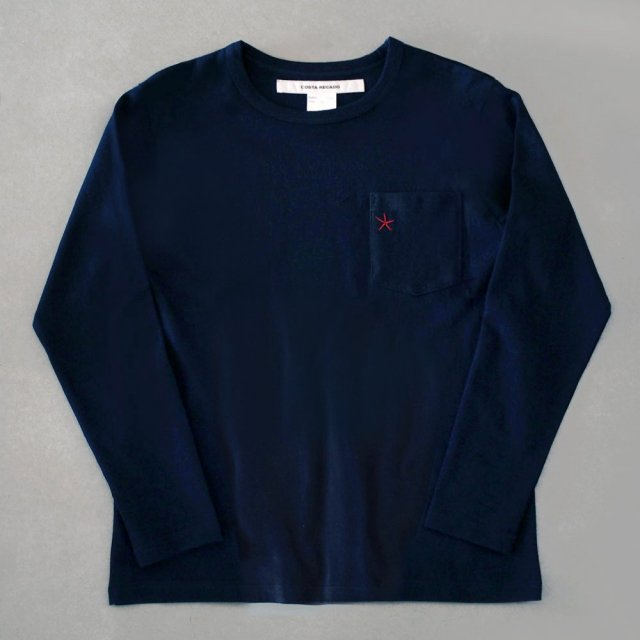 "<img class='new_mark_img1' src='https://img.shop-pro.jp/img/new/icons6.gif' style='border:none;display:inline;margin:0px;padding:0px;width:auto;' />T-shirt 7.8oz long sleeve navy ""hitode"" with pocket"