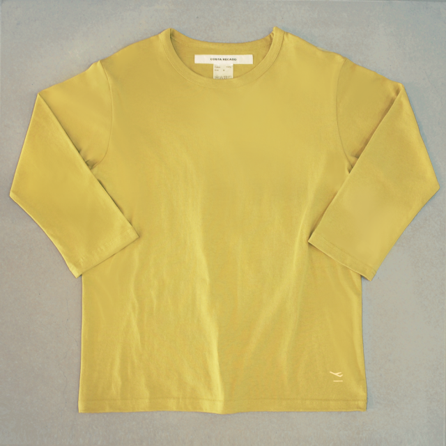 """<img class='new_mark_img1' src='https://img.shop-pro.jp/img/new/icons6.gif' style='border:none;display:inline;margin:0px;padding:0px;width:auto;' />T-shirt 7.8oz three-quarter sleeves yellow  """"departure"""""""