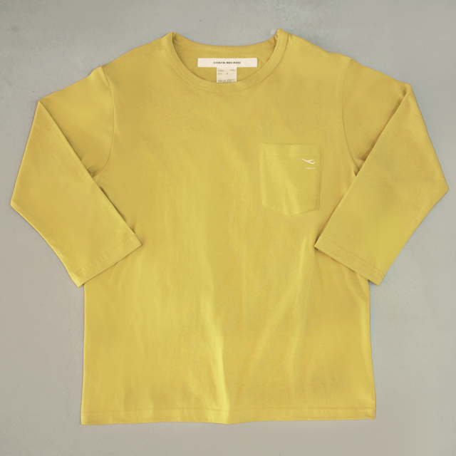 """<img class='new_mark_img1' src='https://img.shop-pro.jp/img/new/icons6.gif' style='border:none;display:inline;margin:0px;padding:0px;width:auto;' />T-shirt 7.8oz three-quarter sleeves yellow  """"departure"""" with pocket"""