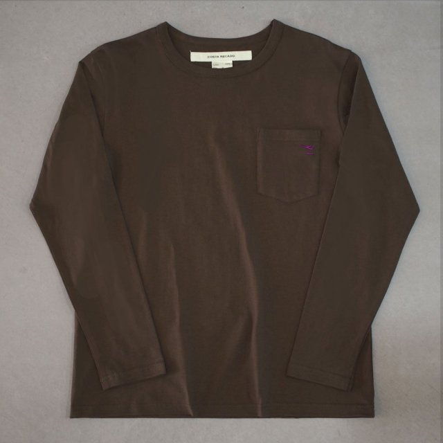 """<img class='new_mark_img1' src='https://img.shop-pro.jp/img/new/icons6.gif' style='border:none;display:inline;margin:0px;padding:0px;width:auto;' />T-shirt 7.8oz long sleeves brown """"departure"""" with pocket"""