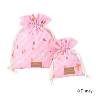 限定生産品 Disney ディズニー 『おしゃれキャット』デザイン 巾着 大小2枚組 婦人用 レディース 数量限定