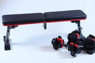 可変式ダンベル(最大24kg)・フラットベンチセット